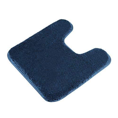 Contour Bath Rug, Seavish Microfiber Anti-Bacterial U-Shaped Toilet Floor Rug Shower Mat Shaggy Non Slip Bathroom Carpet 19.5X 19.5 Inches, Navy Blue by Seavish