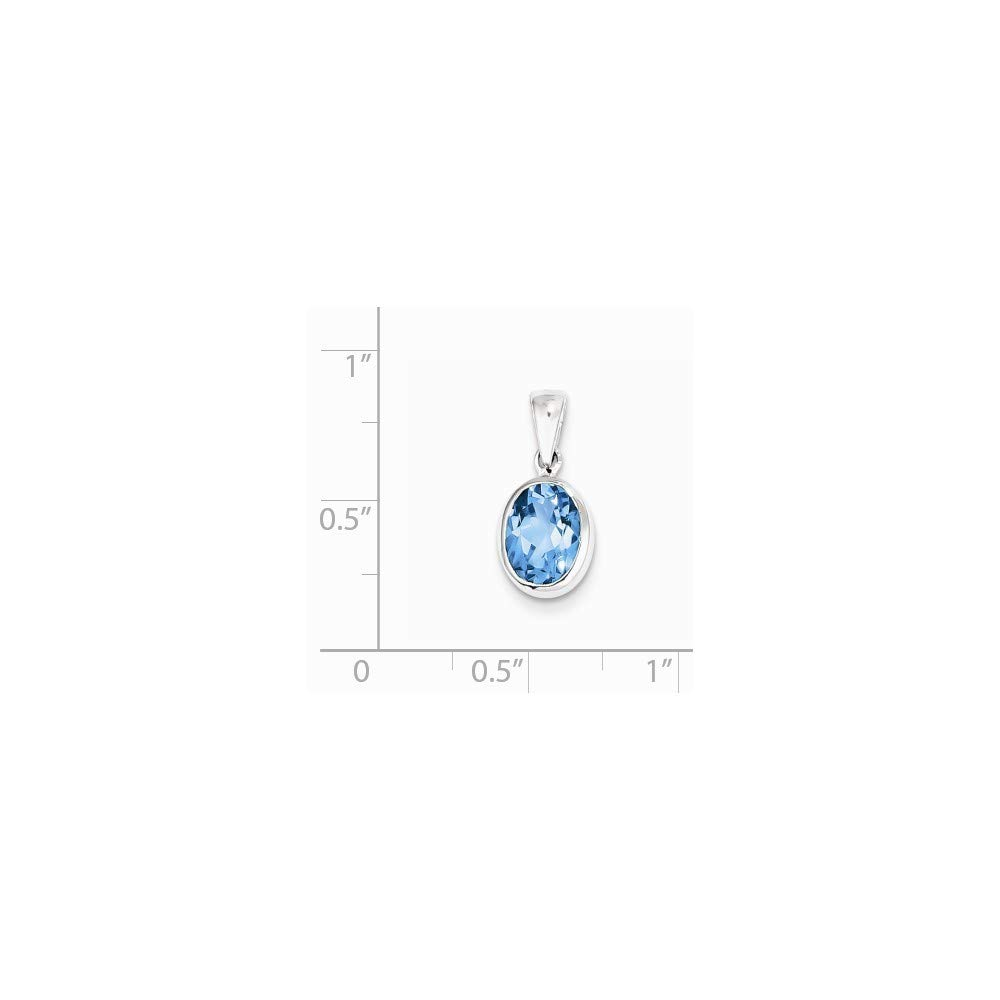925 Sterling Silver Polished Open back Rhodium-plated Rhodium Lt Sw Blue Topaz Pendant