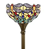 Tiffany Style Torchiere Light Floor Standing Lamp Wide 12 Tall 66 Inch Sea Blue Stained Glass Crystal Bead Dragonfly Lampshade for Living Room Bedroom Antique Table Set S128 WERFACTORY