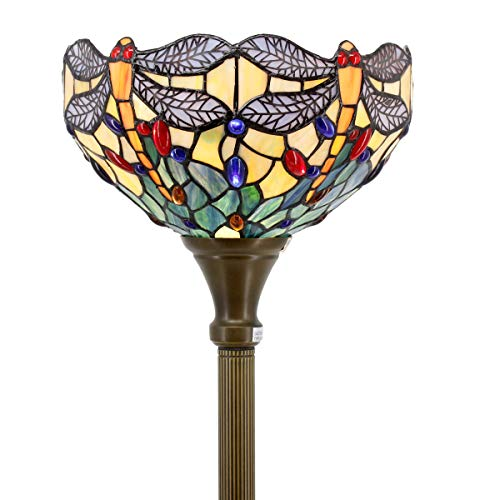 Tiffany Style Torchiere Light Floor Standing Lamp Wide 12 Tall 66 Inch Sea Blue Stained Glass Crystal Bead Dragonfly Lampshade for Living Room Bedroom Antique Table Set S128 WERFACTORY Dragonfly Tiffany Torchiere Lamp