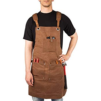 Waxed Canvas Heavy Duty Work Apron With Pockets - Deluxe Edition with Quick Release Buckle Adjustable up to XXL for Men and Women - Texas Canvas Wares ...