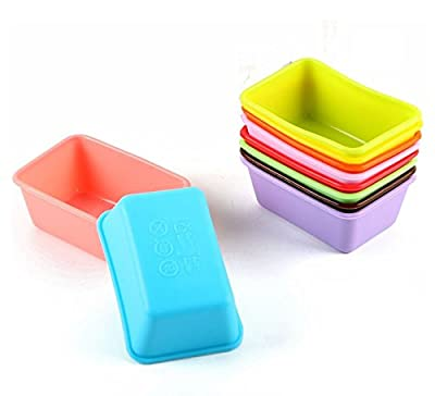 Astra Gourmet Set of 12 Rectangle Reusable Non-stick Small Loaf Pans Cupcake and Muffin Baking Cups Bread Mold(Assorted Color)
