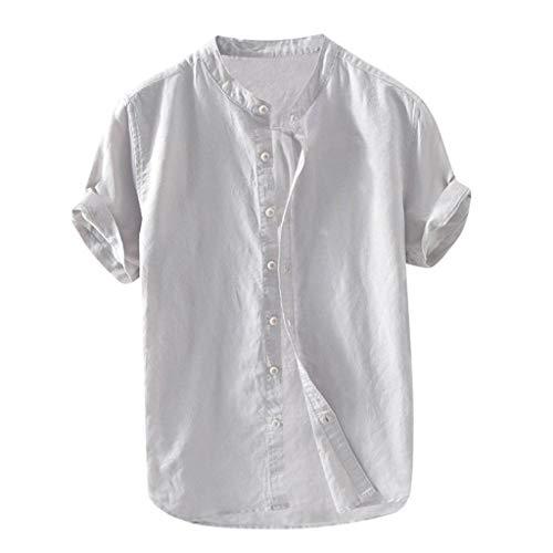 (Beautyfine Short Sleeve Button Retro T Shirts Tops Men's Baggy Cotton Linen Solid Blouse Gray)