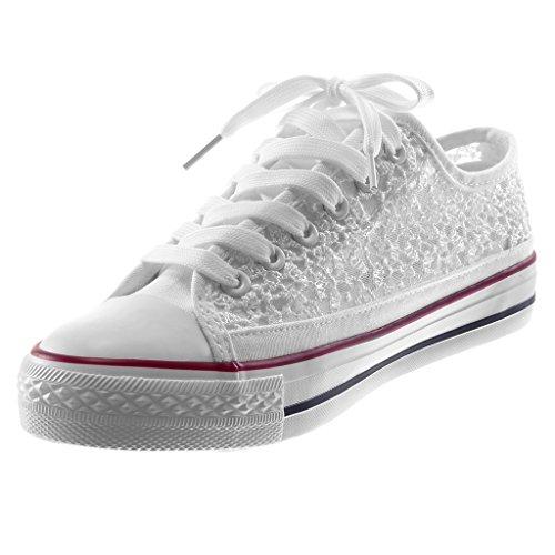 Sneaker Angkorly Ricamo Sporty Moda Scarpe Cm Bianco Piatto Tacco Fishnet Paillettes 3 Donna Chic Flessibile Tennis ppw4C8qnx