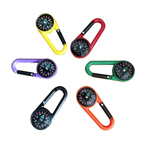 - Toyvian 6pcs Compass Keychain Carabiner Clip Toy Handbad Ornament for Hiking Backpacking Camping Kids Toy (Random Colors)