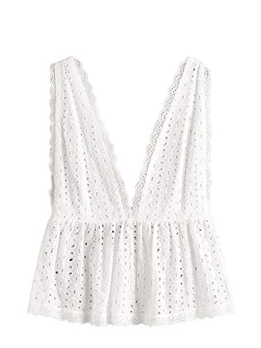 SheIn Women's Sexy Deep V Neck Sleeveless Eyelet Embroidery Peplum Tank Top White S