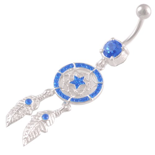 14 Gauge 3/8 Star Dreamcatcher Sapphire Ferido belly ring navel button dangling bar AXAF Pierced (Star Ferido Crystal)