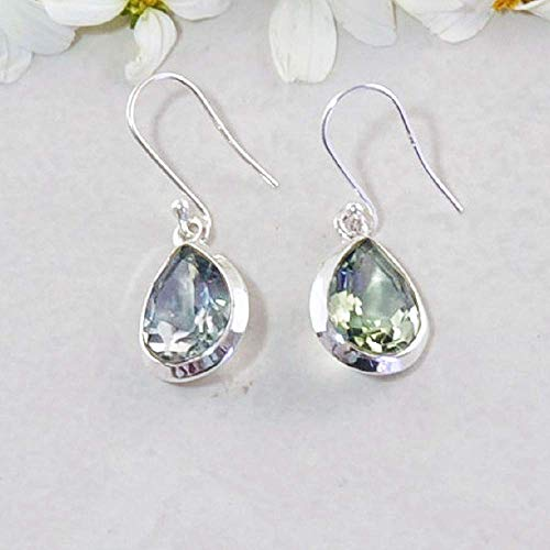 Sivalya 3.00 Ctw Pear Cut Green Amethyst Earrings in 925 Sterling Silver - Genuine Teardrop Shape Gemstone Solid Silver French Hook Dangle Earrings 1.5