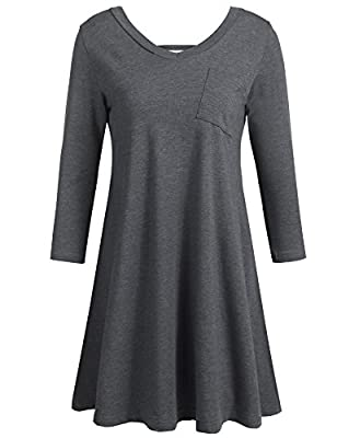 Floral Seasons Women Casual 3 4 Sleeve Tunic V Neck Loose Swing T Shirt Dress