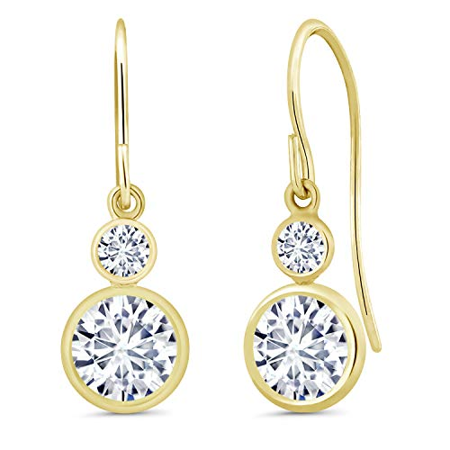 (14K Yellow Gold Dangle Earrings Forever Classic Round 1.80ct (DEW) Created Moissanite by Charles & Colvard)