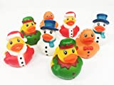 GiftExpress 12 Count 2' Christmas Holiday Rubber Duck Party Favor/Christmas Duckie/Christmas Stocking Stuffers/Bathroom Holiday Decoration