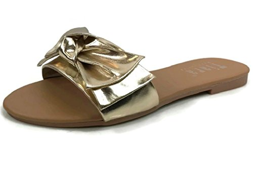 - Wide Band Summer Sandal Slide with Twist Bow Flat, Gold, 8.5