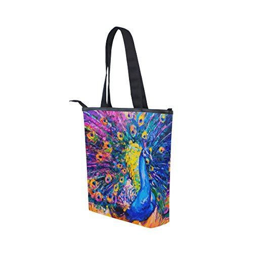 MyDaily Tote Canvas Handbag Bag Shoulder Womens Oil Peacock Painting qAqdr4z