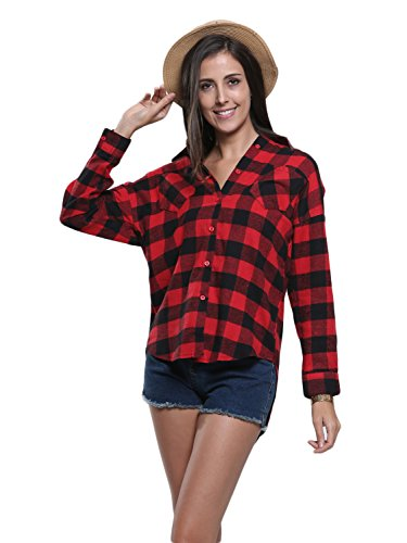 Persun Women's Red Plaid Long Sleeve Pocket Detail Dipped Hem Shirt (Red Checker)