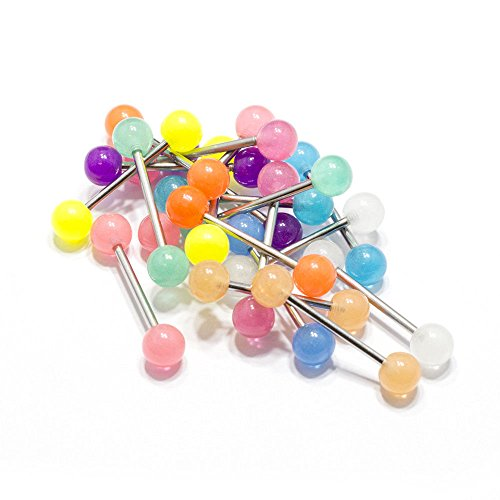 20 Tongue Rings Glow in The Dark Bar Barbell Nipple Surgical Steel Body Jewelry