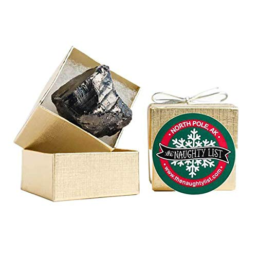 The Naughty List – Christmas Lump of Coal Gag Gift for Someone Who Deserves Coal – Small (2″ X 2″ Packaging) – Gold Box