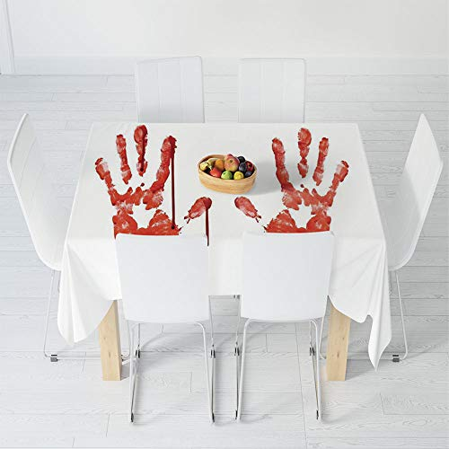 TecBillion Polyester Tablecloth,Horror,for Wedding Banquet Restaurant,30.3 X 28.3 Inch,Handprint Like Wanting Help Halloween Horror Scary ()