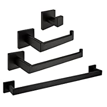 YUTU Q701 4-Piece Contemporary Stainless Steel Wall Mounted Black Matte Bathroom Hardware Sets(Towel Bar/Coat Hook/Toilet Paper Holder/Towel Ring)