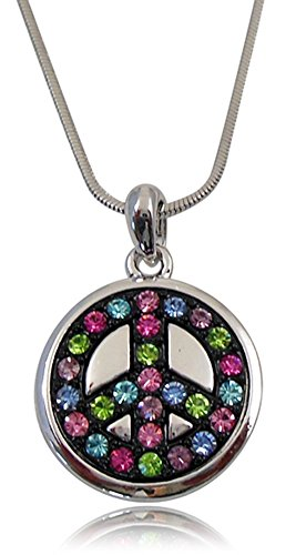 Trendy Silver Tone Pink, Blue, Green, Purple Crystals on Black Peace Sign/symbol Necklace for Girls Teens Women