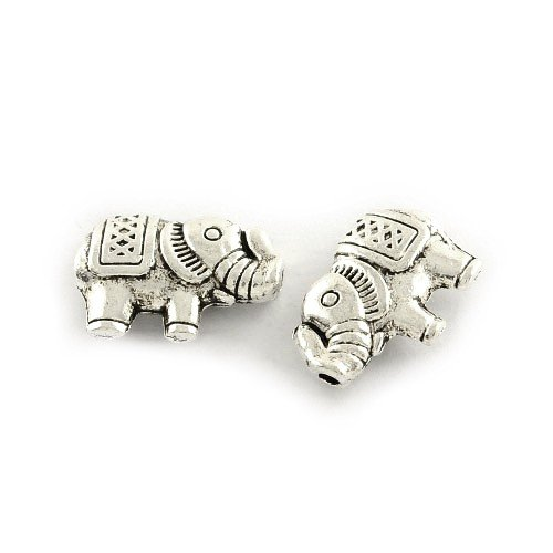 Elephant Charming (Packet of 30 x Antique Silver Tibetan 9 x 13mm Elephant Beads - (HA17850) - Charming Beads)