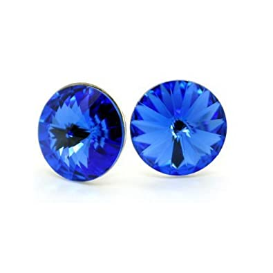 big sterling silver stud earrings for women royal blue colour made