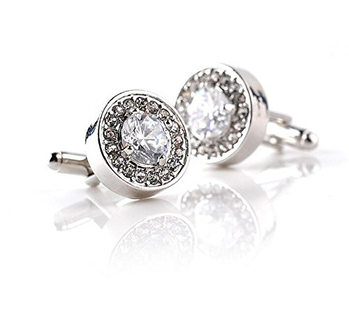 - Vi.yo 1 Pair Men's Stud Cufflinks Fashion Round Diamond Shirt Cufflinks Gift for Office Wedding Men(silver)