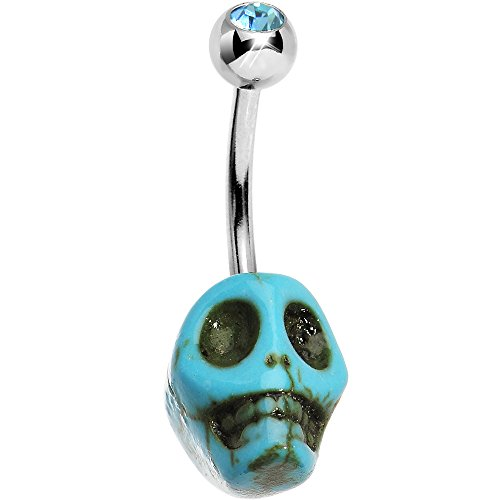 Brilliant Blue Bare Bones Skull Belly Ring