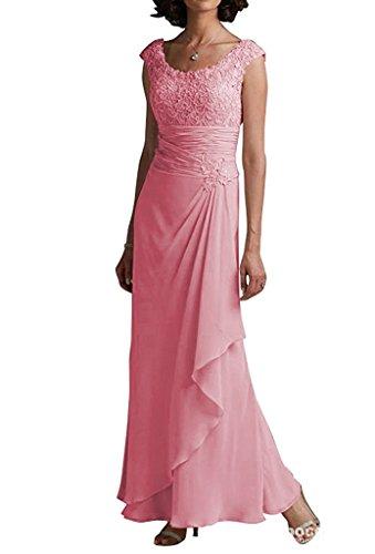 Long Evening Bride S H Gown Dress D Pink s Mother Women Round Collar Chiffon of The 7wBAwqxRC