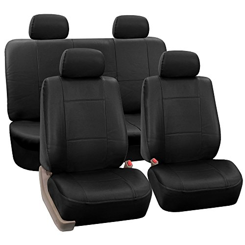 FH-PU008114 Perforated Leatherette Full Set Car Seat Covers, (Airbag & Split Ready), Solid Black Color - Fit Most Car, Truck, SUV, or Van
