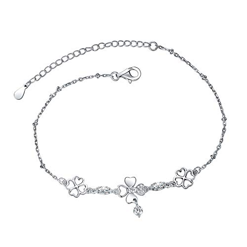 Eurynome S925 Sterling Silver Endless Love Heart Four Leaf Clover Bracelet Adjustable Chain for Women Girls
