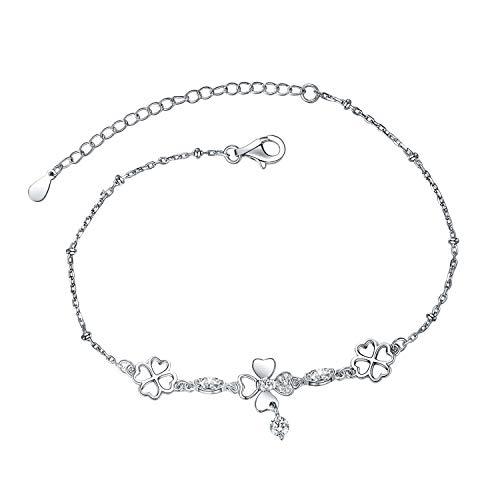 Eurynome S925 Sterling Silver Endless Love Heart Four Leaf Clover Bracelet Adjustable Chain for Women ()