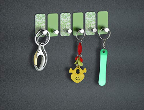 PSM Heavy Duty Adhesive Aluminium and Abs Decorative Sticky Key Holder (H50 x W25 x D23 mm) (Green & Taxture Pack of 6 Pcs.)