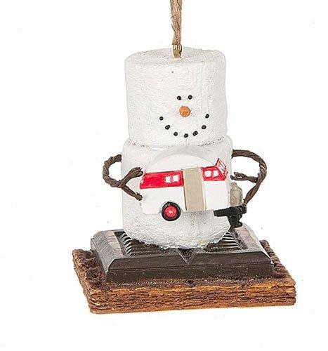 2017 S'mores Vintage Trailer Snowman Ornament