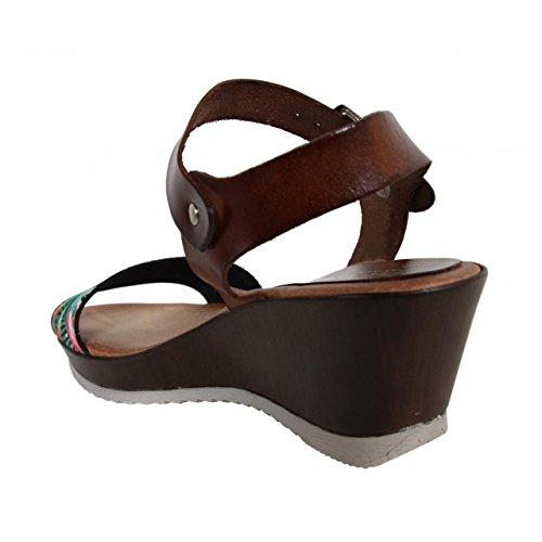 Chaussures compensées pour Femme CUMBIA 30135 ESTAMPA NEGRO-MARRON