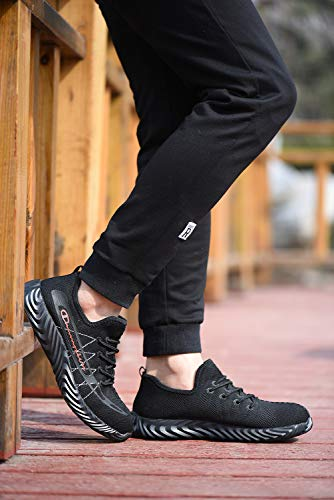 3b5926a8bde5a UPSTONE Mens Steel Toe Safety Work Shoes, Lightweight Breathable Casual  Outdoor Athletic Slip Resistant Fashion Sports Sneakers, 802 Black 42