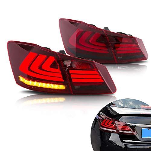 (MOSTPLUS RED Smoke LED Brake Tail Lights for 2013-2015 Honda Accord 4 Door Sedan Set of 2)