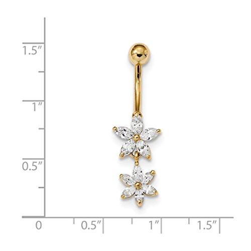 ICE CARATS 14k Yellow Gold Cubic Zirconia Cz 2 Flower Dangle Belly Band Ring Body Naval Fine Jewelry Gift Set For Women Heart by ICE CARATS (Image #3)