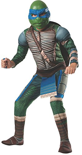 Rubies Teenage Mutant Ninja Turtles Deluxe Muscle-Chest Leonardo Costume, Medium -