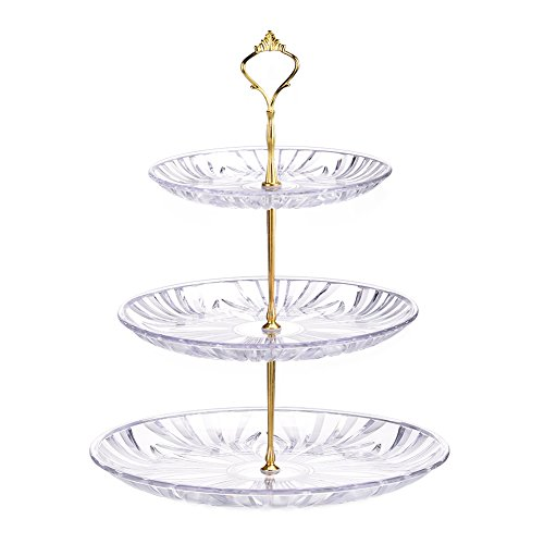 Biback Fruit Plate Living Room Home Three-Layer Cake Shelf Dried Fruit Plate Afternoon Tea Snack Dessert Plate Dessert Rack Round Wedding Party Tree Tower Acrylic Cupcake Display Stand