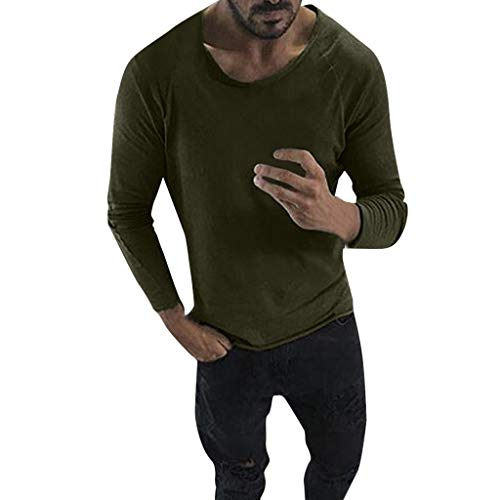 Allywit M-3XL Men Fashion Spring Summer Casual Solid Color Long Sleeve O-Neck Tops Blouses Army Green