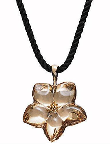- BACCARAT Blossom Pendant Gold Crystal Flower Black Cord Jewelry Choker
