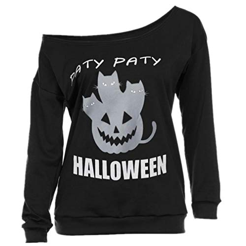 TWGONE Women Halloween O Neck Print Long Sleeve Off Shoulder Shirt Hoodies Blouse Cotton Blend Tops (US-8/CN-L,Black )