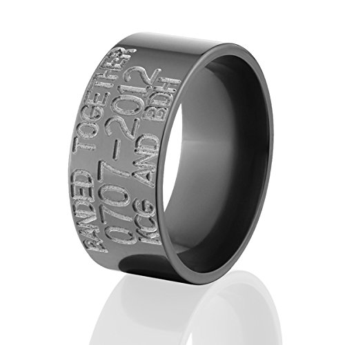 (10mm Wide Black Zirconium Duck Bands & Rings)