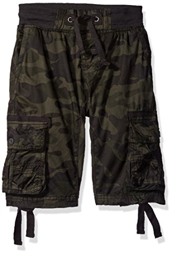 - Southpole Boys' Big Fine Twill All Over Camo Jogger Shorts with Cargo Pockets, Woodland, Large