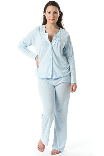 Casual Nights Women's Long Sleeve Embroidered Dot Pajama Set - Light Blue - XX-Large - Embroidered Long Sleeve Pajama Set