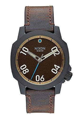 nixon-ranger-40-leather-all-black-brass-brown-stainless-steel-analog-watch