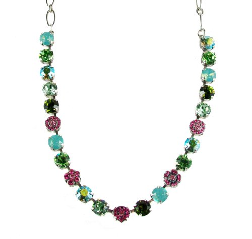 Mariana ''Tropical'' Antique Silver Plated Swarovski Crystal Flower Necklace, 16'' by Mariana