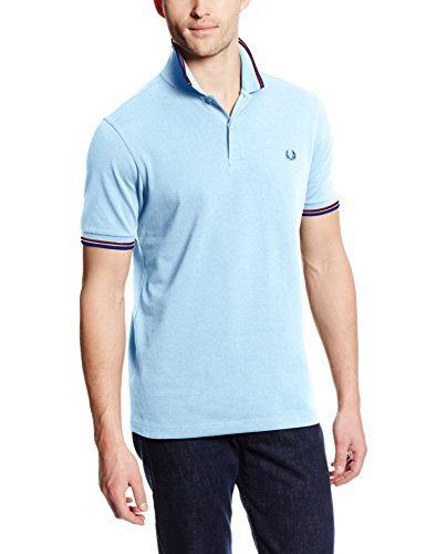 Fred Perry Men's Slim Fit Twin Tipped Polo Shirt, Sky Blue/Port/Indigo, Large