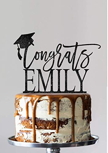 Graduation Cake Topper Personalized Grad Decoration Class of Script Cake Topper Congrats Grad Graduation Party School College Student