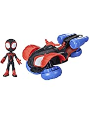 Marvel Spidey and His Amazing Friends Change 'N Go Techno Racer Vehicle And Miles Morales: Spider Man 4 inch Action Figure, For Kids Ages 3 And Up, multicolour, F1945